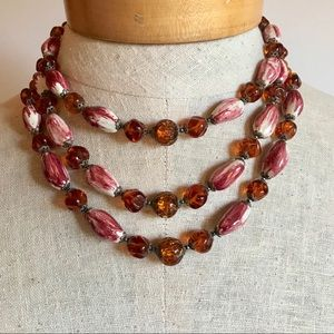 Vintage Necklace Triple Strand Glass Beads Glow